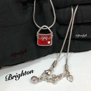 Brighton Necklace Purse Pendant Red Enamel Silver